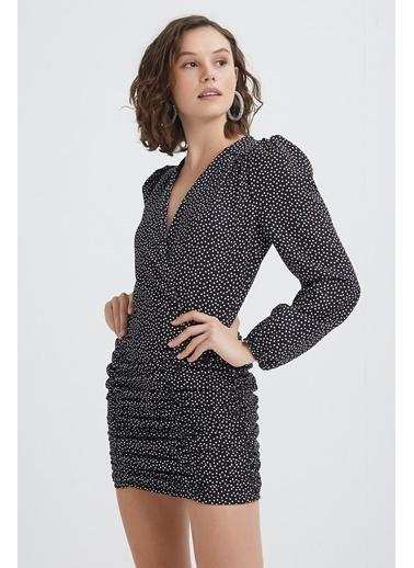 Quzu Puantiyeli Kruvaze Elbise Siyah
